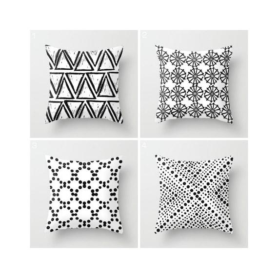 White and Black Throw Pillow - Geometric Throw Pillow - Black and White Pillow - White Cushion - Throw Pillow 16 18 20 24 inch