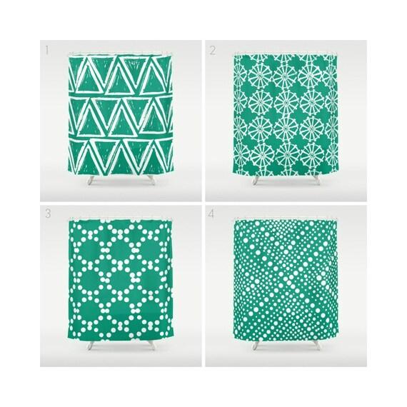 Emerald Green Shower Curtain - Geometric Shower Curtain - Modern Shower Curtain - Shower Curtain - Triangle Shower Curtain - Green and White