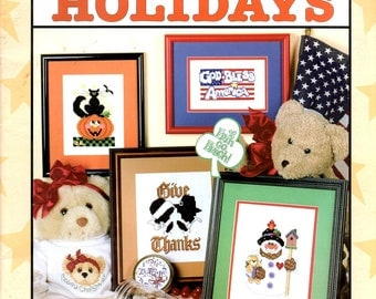 Big Book of Holidays Hearts Cupid Black Cat Snowman Stars Stripes Shamrock Santa Counted Cross Stitch Embroidery Craft Pattern Leaflet 24517