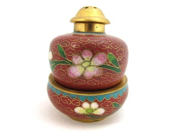Vintage Chinese Cloisonne Enamel Salt Cellar Set