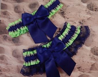Navy Gray Green Chartreuse Satin Navy Lace Wedding Bridal Garter Toss Set