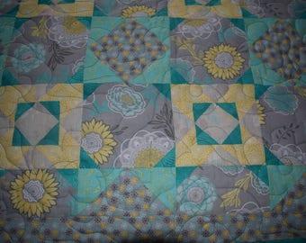Beautiful Handmade Aqua, Yellow and Grey Quilt