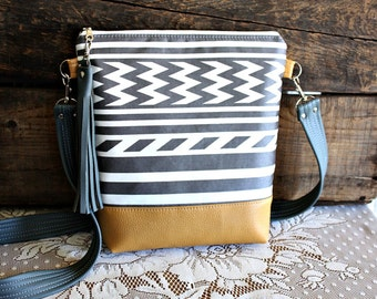 Striped Chevron crossbody purse/ handbag/bag vegan Grey/ White leather trim- Ready to ship-
