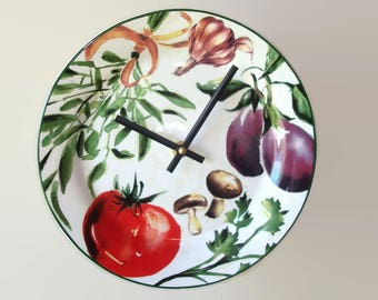 9 Inch Kitchen Wall Clock, Ceramic Plate Clock, Food Clock, Vegetable Clock, Unique Wall Clock - 2357