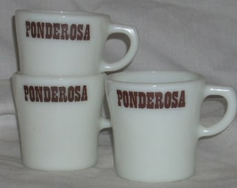 Pyrex Corning Glass Ponderosa Restaurant Coffee Cups Mug