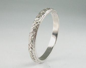 Vintage Platinum Wedding Ring - Ladies Wedding Ring