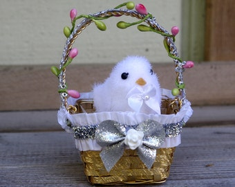 Easter Decoration Ornament White Chick in a Basket