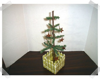 Artificial Spruce Rustic Tree w/Picket Fence/Holiday Decorations/ Craft Supplies*