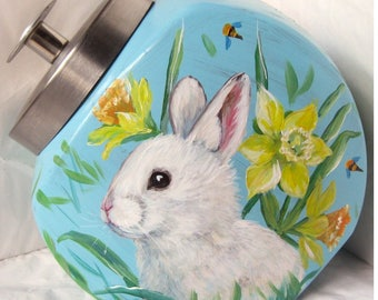 Bunnies and spring flowers~~hand painted 1/2 gallong penny candy jar
