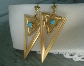 Vintage Art Deco Gold Triangles Turquoise Glass Native Tribal Inspired Southwest