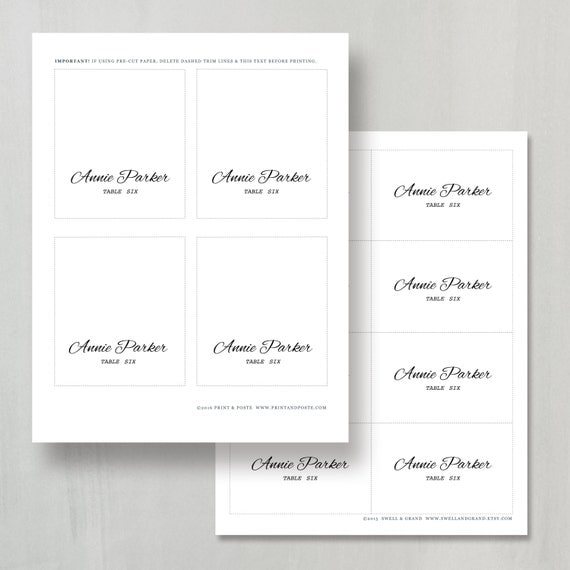 printable place card template instant download calligraphy. Black Bedroom Furniture Sets. Home Design Ideas