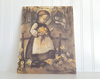 Hummel Print, Dry Mounted on Foam Board, Girl Picking Yellow Flowers,  7.75x10 Inches