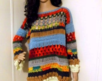 DARE To Be Different - (OOAK) Hand Crochet Oversized Sweater, Long Sleeve, Multi Oversize Sweater, Chunky Sweater, Small/Medium