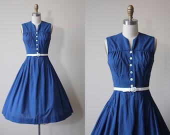 1950s Dress - Vintage 50s Dress - Blue Black Plaid Check Cotton Shirtwaist Full Skirt Sundress S - Go By Train Dress
