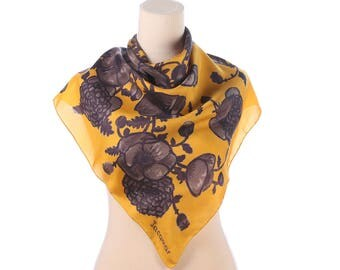 Ppppy SILK Scarf 70s Vintage  Designer JACQMAR Shawl Floral Yellow Rustic Poppy Print Boho Hand Rolled Edges Gift For Her