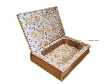 Hollow Book Safe Rainbow Trail Cloth Bound vintage Secret Compartment Keepsake Box