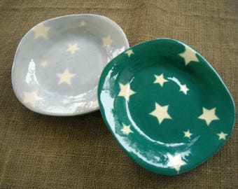 Teal or Blue Star Bowl - Celestial Dish - Star Gazing Bowl - Cereal Bowl - Ice Cream Bowl - Star Pottery