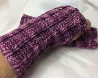 Hand Knit Wrist Warmer - GRAPE TIE DYE