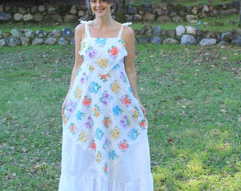 IRIS - 1970s Maxi Dress Sundress Arjon California Bohemian Boho Floral White Handkerchief Hem Gypsy Witch Goddess Hippie Festival Sm M