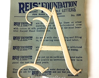 Antique Letter  A G or F - CHOICE of One Embroidery Over Pattern c1910 Reis Foundations