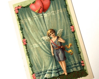 Valentine Postcard Cupid Hearts Embossed Antique 1907-15 Germany