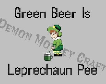 Green Leprechaun Beer DIGITAL PATTERN