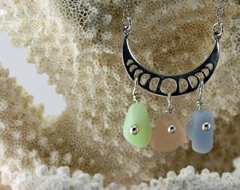 TRENDING Phases of the Moon and Tricolor Genuine Sea Glass Necklace