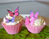 Black Friday SALE 24 EDIBLE Butterflies The Original- Small Pink and Purple  -  Cake & Cupcake toppers - Food Decorations - PRECUT and Ready