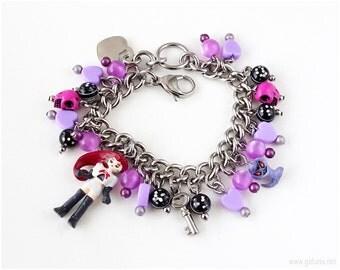 Team Rocket Jessie and Arbok Charm Bracelet, Purple, Black, Fuchsia, Stainless Steel, Pokemon Jewelry, Pokemon Gifts, Gamers