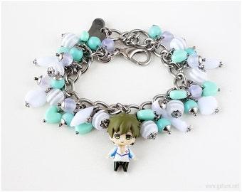 FREE Makoto Charm Bracelet, Teal, White, Anime, Kawaii, Silver Chain