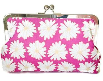 pink daisy print Bridesmaids Clutches  Wedding Purse, destination wedding, formal wedding