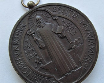 Antique Saint Benedict Religious Medal Exorcism Catholic Monks Pendant Dated 1880  SS187