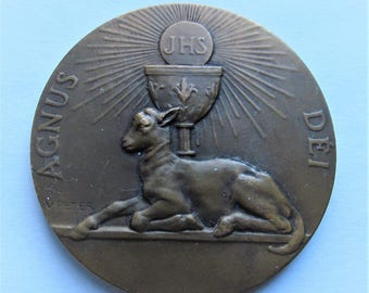 Lamb Of God  Antique Agnus Dei French Bronze Religious Art Medal Signed Victor Peter