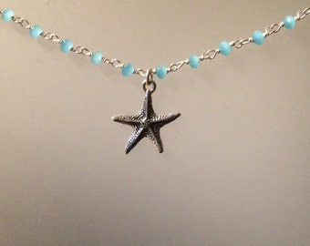 Chalcedony and Starfish Starling Silver Necklace, Beach, Ocean, everyday jewelry, blue
