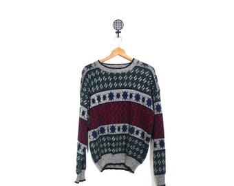 BTS SALE Vintage 80s Unisex Knit Geometric Print Cosby Sweater women men sml vestiesteam diamond stripes zig zag retro hipster hip hop prepp