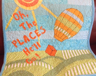 Boy Girl Quilt - Oh The Places Baby Quilt/Hot Air Balloon Gender Neutral Baby Quilt/Aqua Green Yellow Orange Baby Quilt/Dr. Seuss