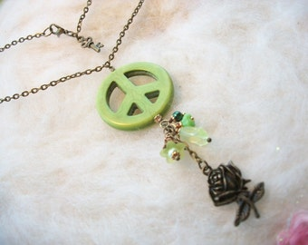 Peace Sign Necklace Green Peace Pendant Bronze Rose Charm Peace Sign Jewelry Peace Sign Beads Hippie Necklace Hippie Jewelry