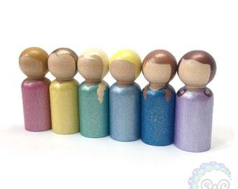 SALE princess peg dolls - glitter + shimmer princesses
