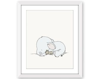 Elephant and Bunny Nursery Art -- Sweet Dreams -- Elephant and Bunny --  Nursery Art Print -- Nursery Decor -- Children Art -- Kids Wall Art