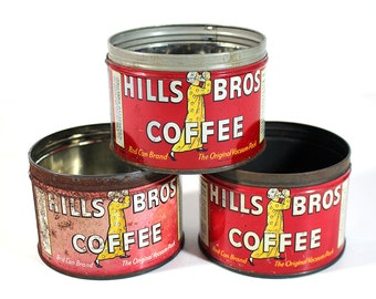 Set of 3 Vintage Hills Bros Tin Coffee Cans - Small