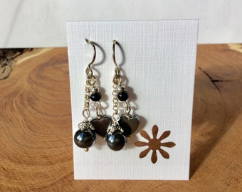 Love is in the air-Hematite beaded earrings