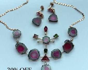 Tourmaline, Watermelon Tourmaline, Rose Gold Set, Handmade Necklace/Earring Set, Bi-Color Tourmaline, Jewlery Set, 30% OFF