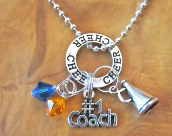 Cheer Coach - Great End of Year Gift for Cheer Coach - Personalize - Choose any School or Team Colors