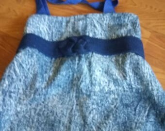 Large Blue Market  Tote bag Made with vintage Fabric - on sale 50% off