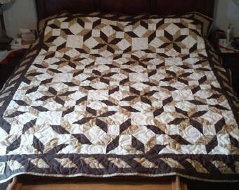 Handmade queen size quilt Road through Oklahoma