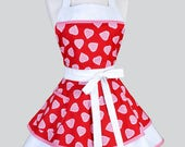 Ruffled Retro Womans Apron / Red Gingham Hearts Flirty Vintage Style Pin Up Cute Kitchen Apron with Pockets to Personalize or Monogram