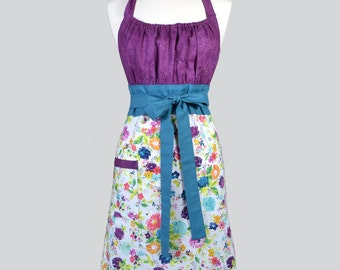 Cute Kitsch / Eggplant Purple and Teal Spring Floral on Ivory from Adornit Womans Retro Vintage Style Kitchen Chef Apron