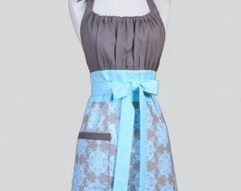 SALE Cute Kitsch Womens Apron - Taupe and Blue Damask Elegant Retro Vintage Style Kitchen Cooking Apron with Pockets Ideal Wedding or Bridal