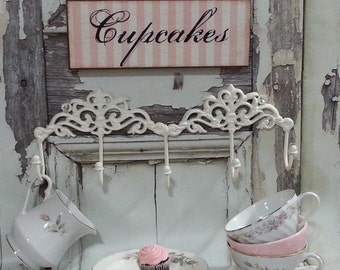 PINK Cupcakes SiGN Wall Art / French Cottage Chic Decor / Shabby Pink Kitchen Decor / Ready To Ship