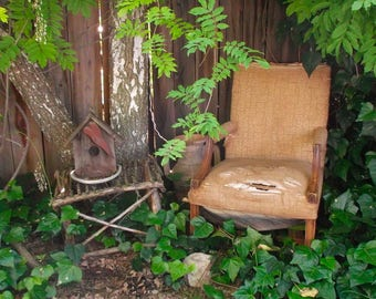 Old Antique Chair // High Back // California Barn Find // Woven Upholstery // Fauteuil Armchair Carved // Heavy Wear